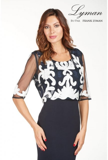 39cdc85a64 Product Description. This beautiful sheer navy blue Lyman by Frank Lyman  Cover Up ...