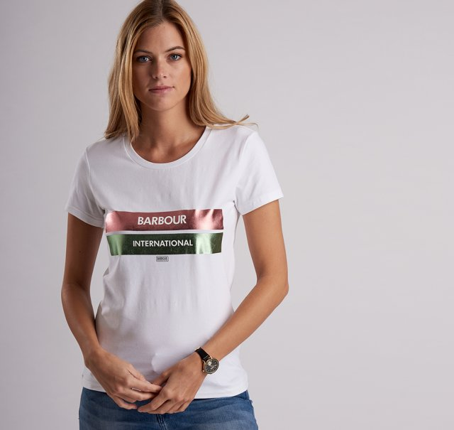 Barbour International Bearings Tee    White/Pink