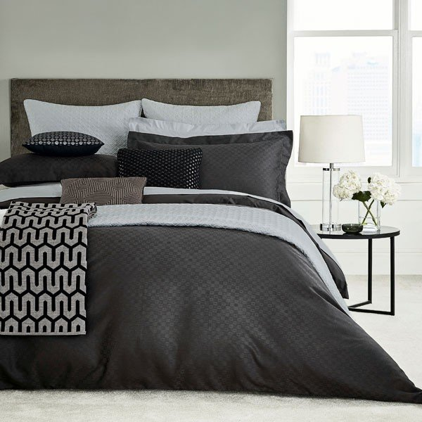 Bedeck Peacock Blue Hotel Collection Petra Bedding Graphite
