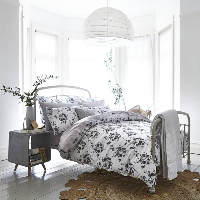Bianca Sprig Cotton Bedding Grey Print