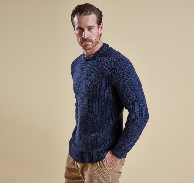 Barbour New Tyne Crew Knitwear Denim Blue