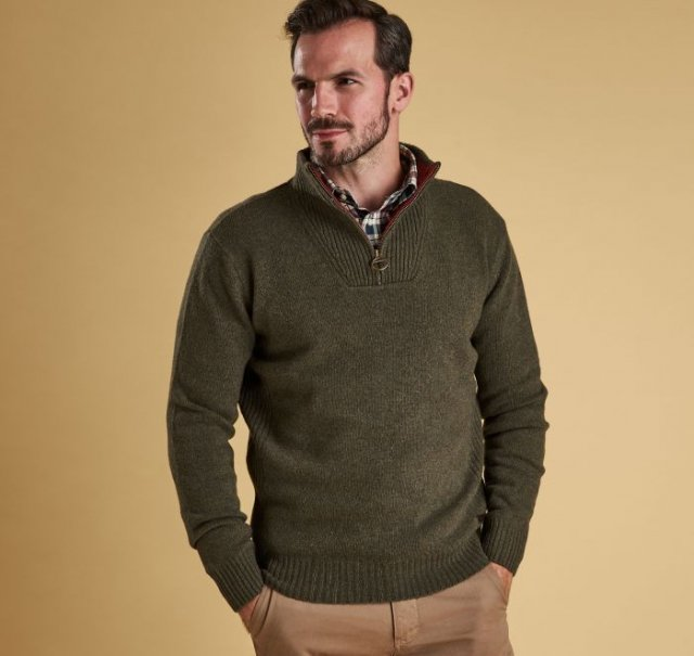 Barbour Nelson Essential Half Knitwear Seaweed Green