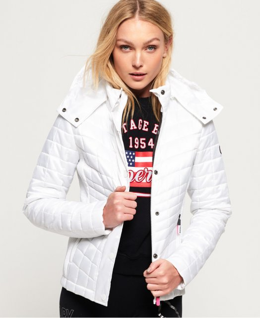 Superdry Nova Box Quilt Fuji Jacket White