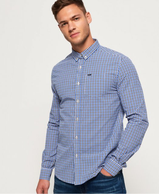 9a393997a Superdry Ultimate Univeristy Oxford Shirt Blue Check - Casual - Barbours