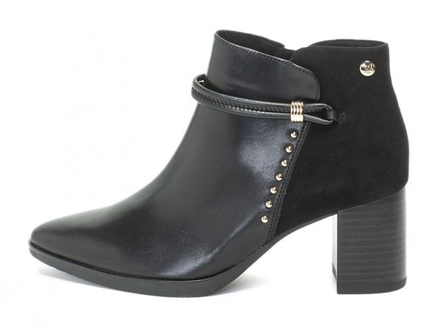 Caprice Black Comb Heeled Boot