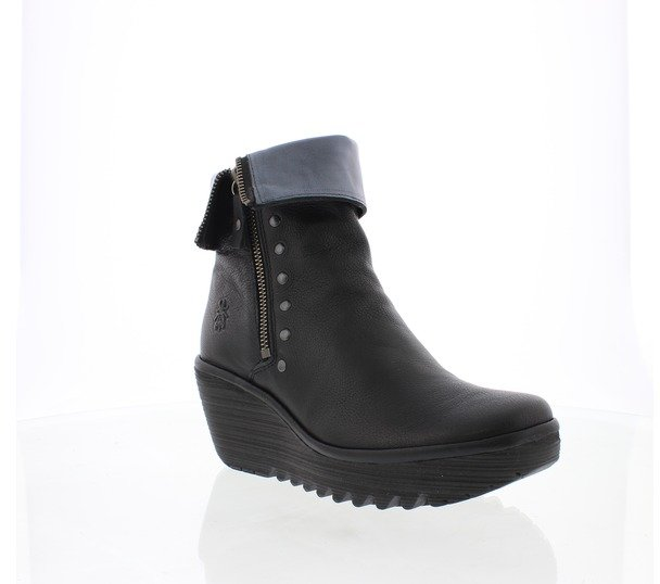 Fly London Yemi Kelpie Zip and Fold Mid-Length Boot Graphite (Black)