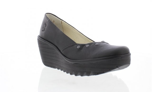 Fly London Yuzo Mousse Wedged Shoe Black