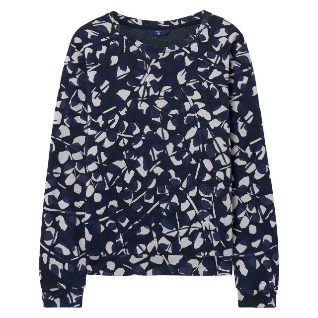 Gant Aop Crew Neck Sweat Marine