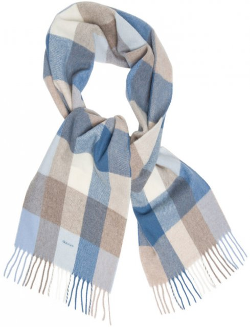 Gant Multicheck Lambswool Scarf Blue - Scarves, hats   gloves - Barbours 990c5a72d7d