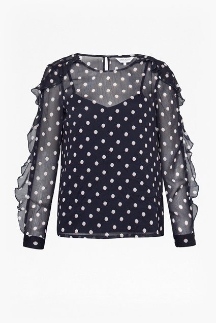 Great Plains Dot Mix Ls Round Neck  Top Midnight Combo