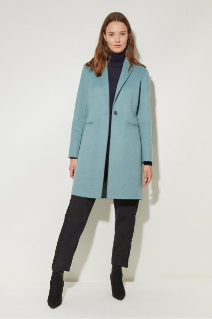 Great Plains Doubleface Ls Collared Coat Soft Teal