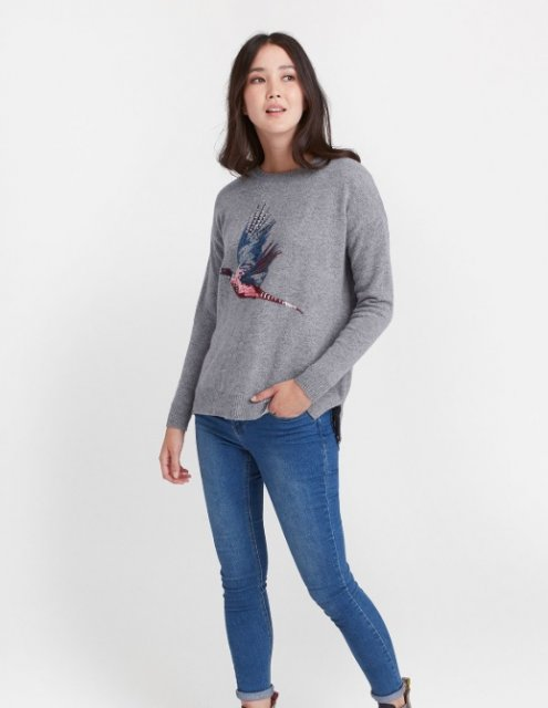 Joules Meryl Slouchy Warm Handle Jumper Grey Marl Pheasant