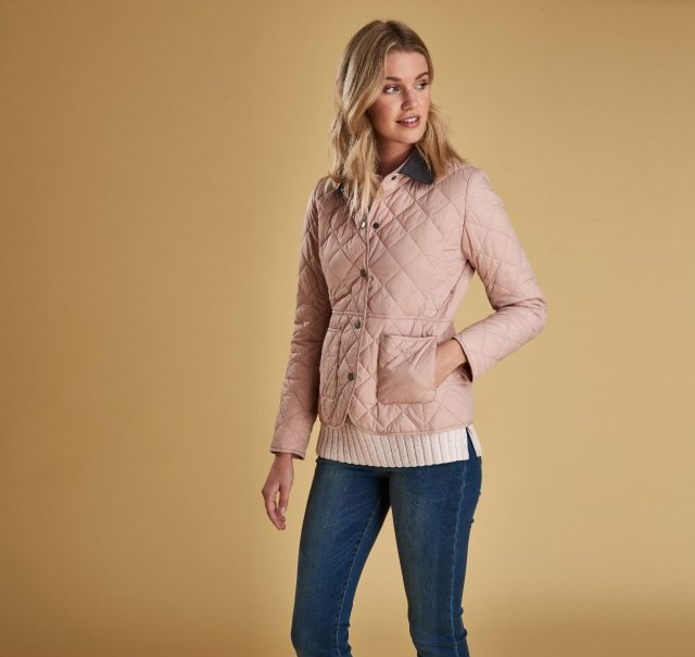 Barbour Devero Pale Pink and Olive Quilt Jacket